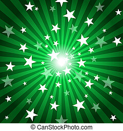 Sun Rays and Stars - Green Abstract Background Illustration,...