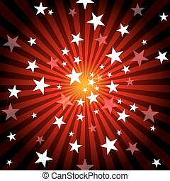 Sun Rays and Stars - Red Abstract Background Illustration,...
