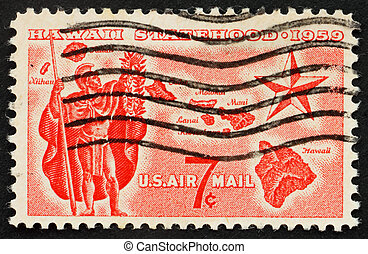 Hawaii statehood Issue Alii Warrior, Map of Hawaii and Star...