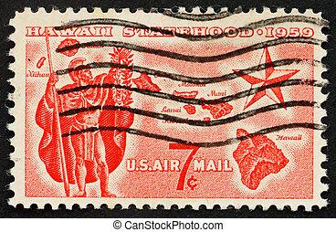 Hawaii statehood Issue Alii Warrior, Map of Hawaii and Star...