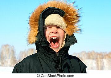 boy in winter - portrait of screaming boy in the winter