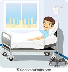 Man at Hospital Bed - Young adult man resting at hospital...