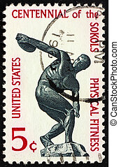 Postage stamp USA 1965 Discus thrower - UNITED STATES OF...