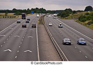 Motorway Chevrons - View of a motorway showing the safety...