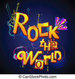 Rock the World - illustration of musical background with...