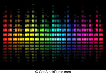 Musical Bar - illustration of colorful musical bar on black...