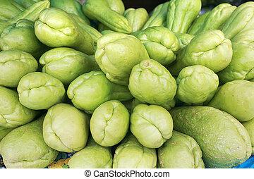 fundo, orgânica, choko, Sechium, edule, vegetal,...