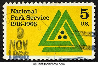 Postage stamp USA 1966 National park service emblem