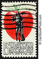 United States of America - circa 1966: a stamp printed in the Un