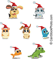 Cute animals wearing Santa hat - A vector illustration of...
