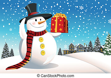 Snowman holding Christmas present - A vector illustration of...