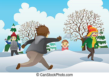 Children Playing Snowballs - A vector illustration of...