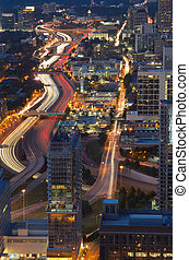 Atlanta Cityscape - Interstate 85 winds through downtown...