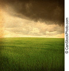 vintage photo - neutral colour field landscape with dramatic...