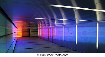 colored corridor - multiple colored subway corridor with...