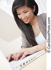 Beautiful Asian Chinese Woman Using Laptop Computer