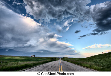 Prairie Road and School House Saskatchewan Canada