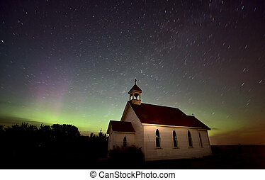 Night Church Northern Lights Saskatchewan Canada Aurora...