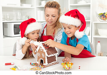 Happy family at christmas time in the kitchen