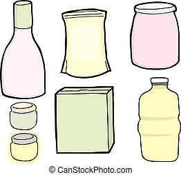 Generic Food Packages - Drawings of a generic bottle, jars,...