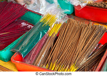 Incense sticks on a market