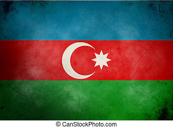 Azerbaijan Grunge Flag - Azerbaijan flag on old and vintage...