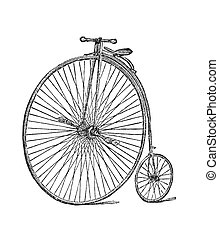 Bicycle - The Modern Bicycle, The Penny-farthing Engraving...
