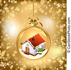 Gold of empty snowglobe with New Year's house. Vector