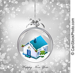 Silver of empty snowglobe with New Year's house