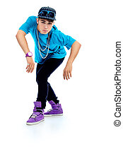 street dance - Stylish young man is dancing Isolated over...