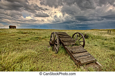 Old Prairie Wheel Cart Saskatchewan Canada field