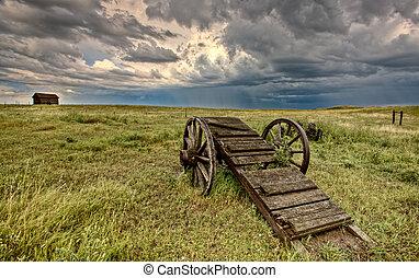 vecchio, prateria, ruota, carrello, Saskatchewan