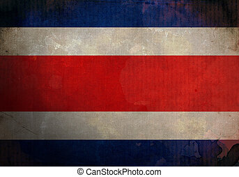 Costa Rica Grunge Flag - Costa Rica flag on old and vintage...