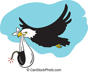Flying bald eagle that brings a baby bomb - Vector...