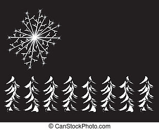 Christmas Border - Christmas border with trees and snowflake...