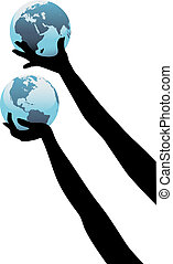 Earth person hands hold up global world - Earth people hands...