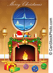 Christmas Celebration - illustration of gift and decoration...
