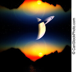 Alien World View - A view of a landscape and sky of an alien...