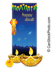 Diwali Card - illustration of burning diya with hanging lamp...