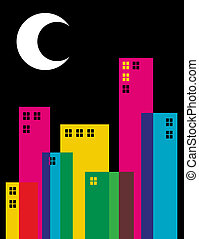 Multicolored transparency night city - Multicolored...