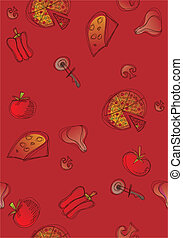 Pizza and ingredients seamless background