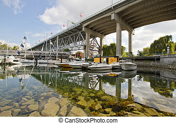 Marina under the Granville Street Bridge Vancouver BC -...