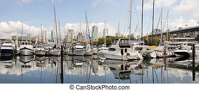 Granville Island Marina in Vancouver BC Panorama - Granville...