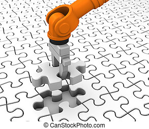 Robot holding jigsaw puzzle piece on a white background