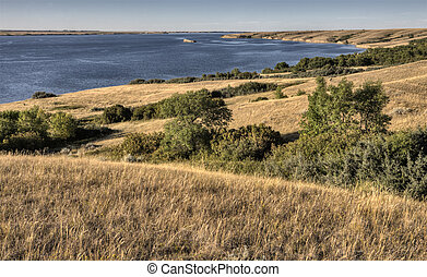 lake diefenbaker Saskatchewan Canada prairie grass and view