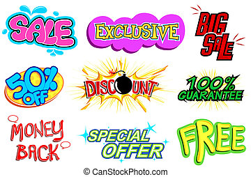 Sale Tag - illustration of different selling icon in comic...