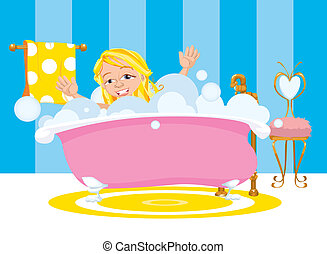 Girl Happy Taking A Bubble Bath - A young girl smiles and...