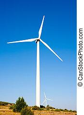 aerogenerator, moinho de vento, ensolarado, azul, céu