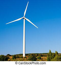 moinho de vento, azul,  aerogenerator, céu, ensolarado