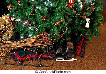 Vintage Skates Under Christmas Tree - This holiday still...